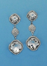 """Clear/Silver Three Linked Stone Square Shape 2"""" Post Earring"""