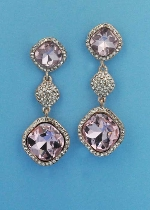 "Rose/Clear Rose Gold Three Linked Stone Square Shape 2.5"" Post Earring"