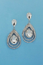"Clear/Silver Multiple Pear Shape 2"" Post Earring"