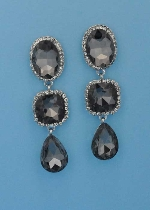 "Black Diamond/Clear Silver Three Linked Big Stone 2.5"" Post Earring"