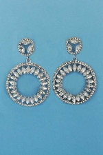 Clear/Silver Two Linked Balls Leave Shape Earring