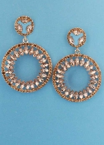 Light Peach/Rose Gold Two Linked Ball Leave Shape Earring