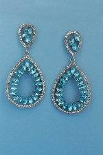 "Aquamarine/Clear Silver Linked Pear Leaves Inside 2.5"" Post Earring"