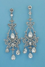 "Clear/Silver 5"" Chandelier Shape Post Earring"
