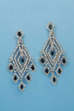 "Jet/Clear Silver Multiple Diamond Mirror Shape 3"" Earring"