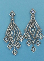 "Aurora Borealis/Clear Silver Multiple Diamond Mirror Shape 2.5"" Post Earring"