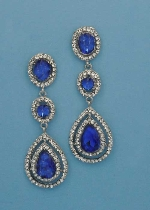 "Sapphire/Clear Silver Three Linked Stone 2.5"" Post Earring"