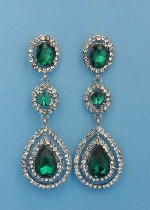 "Emerald/Clear Silver Three Linked Stone 2.5"" Post Earring"