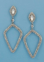 """Clear/Silver Top Marquise Bottom Kite Shape 3"""" Post Earring"""