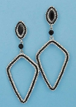 "Jet/Clear Silver Top Marquise Bottom Kite Shape 3"" Post Earring"