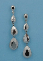 "Hematite/Silver Four Linked Pearshape 2.5"" Post Earring"