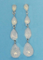 "Opal/Silver Four Linked Pearshape 2.5"" Post Earring"