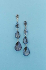 "Blue Opal/Silver Four Linked Pearshape 2.5"" Post Earring"