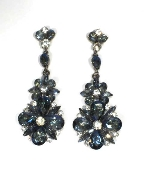 Sapphire AB/Clear Hematite Flower Shape Post Earring