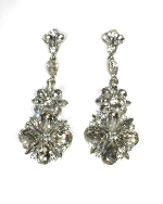 "Clear/Silver Flower Shape 3"" Post Earring"