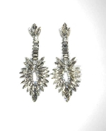 Clear/Hematite Marquise Stone Flower Post Earring