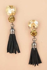 Black Tassle Post Earring