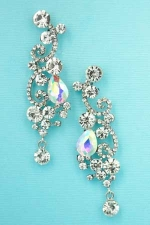 AB Clear Silver Round/Pear Stone Curl Earring