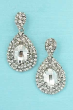 Clear Silver Marquise Stone 2 Row Drop Frame Earring