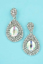 AB Clear Silver Marquise Stone 2 Row Drop Frame Earring