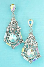 AB Clear Silver Round/Baguette/Pear Cluster Earring
