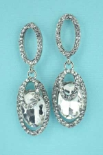 Clear Silver 3 Marquise Pattern Oval Stone Earring