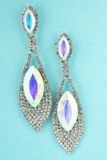 AB Clear Silver Marquise Pattern/Double Stone Earring