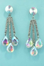 AB/Clear Silver Round/Pear Stone Dangle Earring