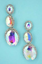 AB Clear Silver 3 Tier Framed Oval Stone Earring