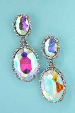AB Clear Silver Double Framed Oval Stone Earring