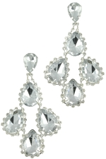 Clear Silver 4 Medium Teardrop Stone Earring