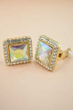 Ab/Gold Square Post Earring