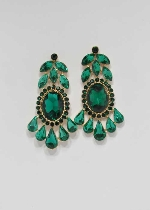"Emerald/Gold Framed Shape 2"" Post Earring"