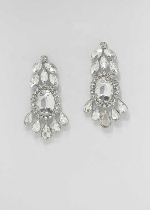 "Clear/Silver Framed Shape 2"" Post Earrings"