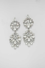 "Clear/Silver Framed Shape 3"" Post Earring"