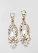 "Clear/Rose Gold Marquise Shape 2.5"" Post Earring"