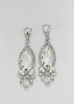 "Clear/Silver Marquise Shape 2.5"" Post Earring"