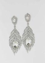 "Clear/Silver Leaf Shape 2.5"" Post Earring"