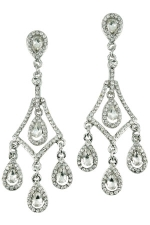 Clear/Silver Round Stone Dangle Earring