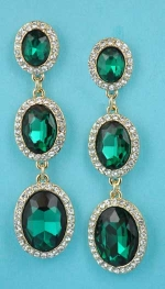 "Emerald/Clear Gold Linked Three Oval Stone 2.5"" Post Earring"