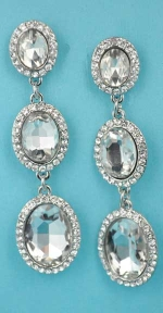 """Clear/Silver Linked Three Oval Stone 2"""" Post Earring"""