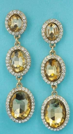 """Light Colorado/Clear Gold Multiple Linked Oval 2"""" Post Earring"""