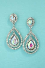 "Clear Silver AB 2"" Drop Shape stone Earrings"