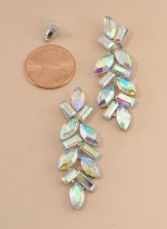 AB/Silver Marquise, Barquette Stone Long Post Earring