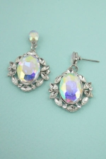 "AB/ Silver Multi Stone Frame Oval Stone 1&1/2"" Dangle Post Earring"