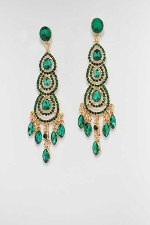 "Emerald/Gold 4"" Linked Dangle Post Earring"