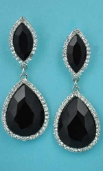 Jet/Clear Hematite Marquise/Pear Linked Post Earring