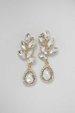 Clear/Gold Top Branch Leaves Shape Earring
