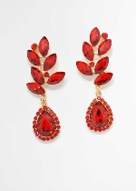 Siam Light/Gold Top Branch Leaves Shape Earring