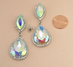 AB/Silver Framed Marquise/Pear Stone Post Earring